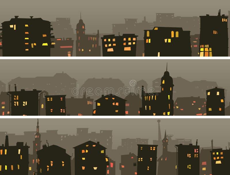 Bandera horizontal de la historieta de la ciudad grande de la noche ilustración del vector