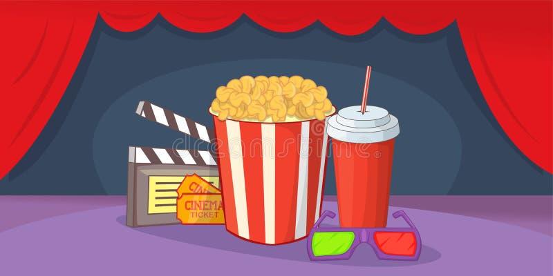 Bandera horizontal de la película del cine, estilo de la historieta libre illustration
