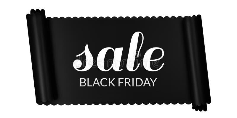 Bandera horizontal de la venta de Black Friday, cinta negra libre illustration