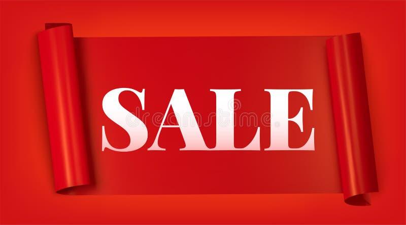 Bandera horizontal de la venta de Black Friday, cinta publicitaria roja del rollo aislada en fondo rojo libre illustration
