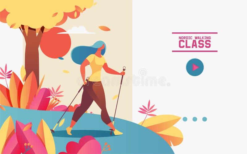 Bandera horizontal de la web del vector o página de aterrizaje con la mujer joven que hace caminar nórdico Ejemplo dibujado con p libre illustration