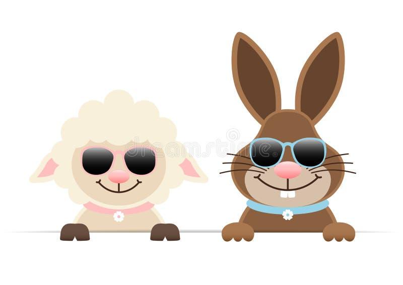 Bandera horizontal de Pascua Bunny And Sheep Sunglasses Holding ilustración del vector