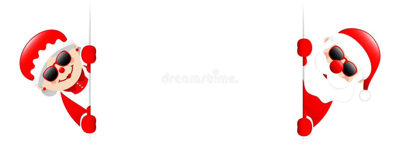 Bandera horizontal de Santa And Santas Wife Sunglasses afuera libre illustration