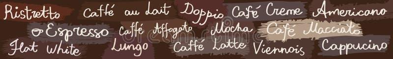 Bandera horizontal del café ilustración del vector