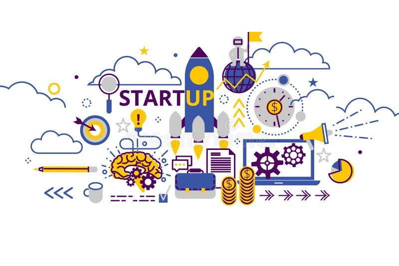 Bandera horizontal del concepto de lanzamiento del negocio en la línea plana montante Ejemplo creativo del vector con muchos icon ilustración del vector
