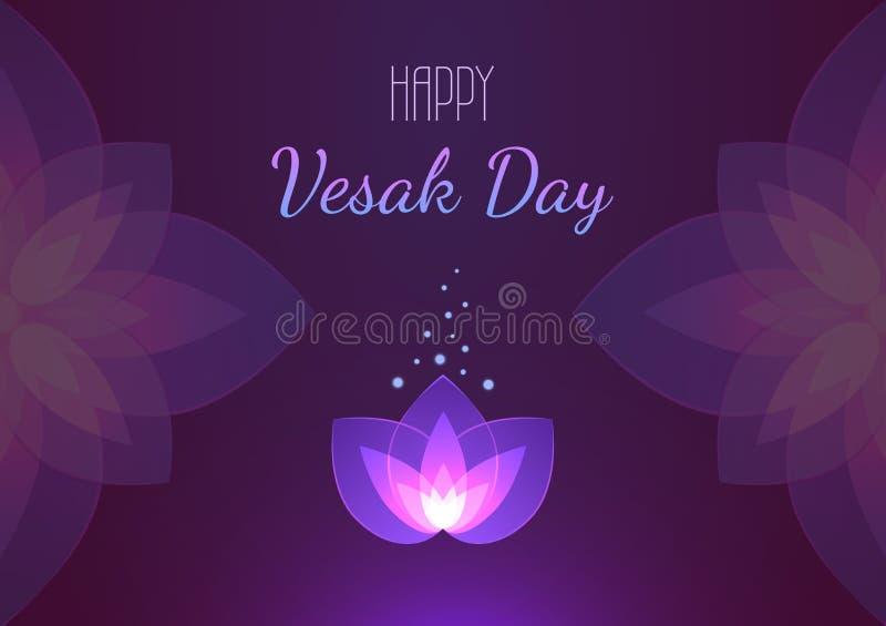 Bandera horizontal del fondo del día de Vesak Tarjeta de felicitación del vector ilustración del vector