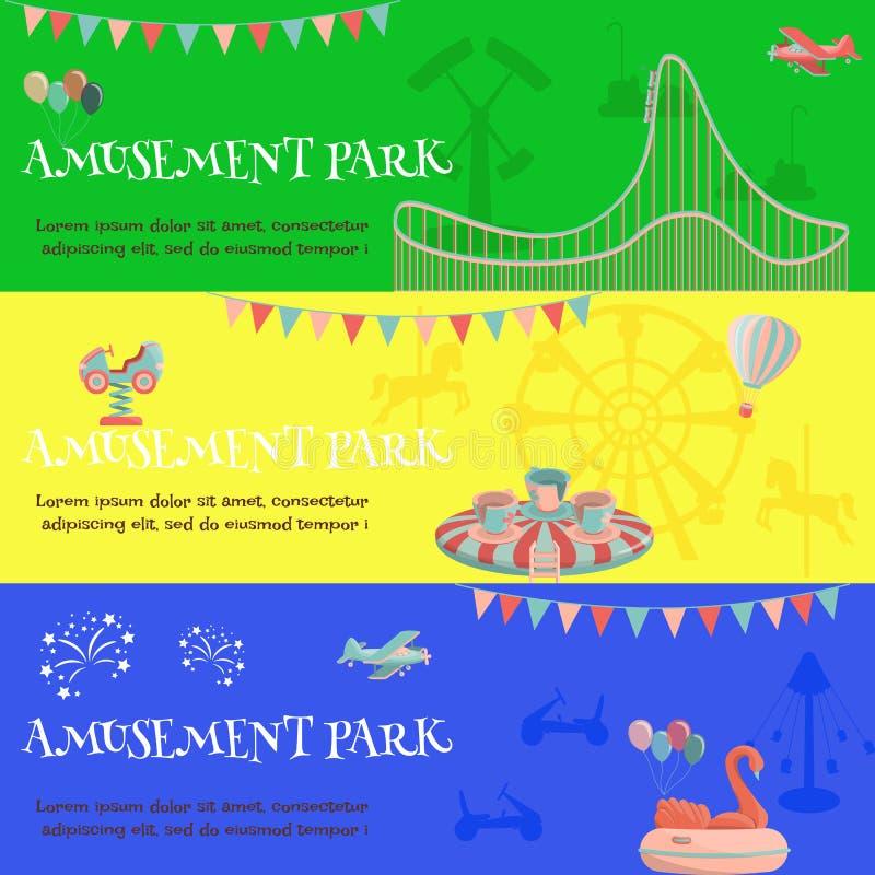 Bandera horizontal del funfair del parque de atracciones stock de ilustración