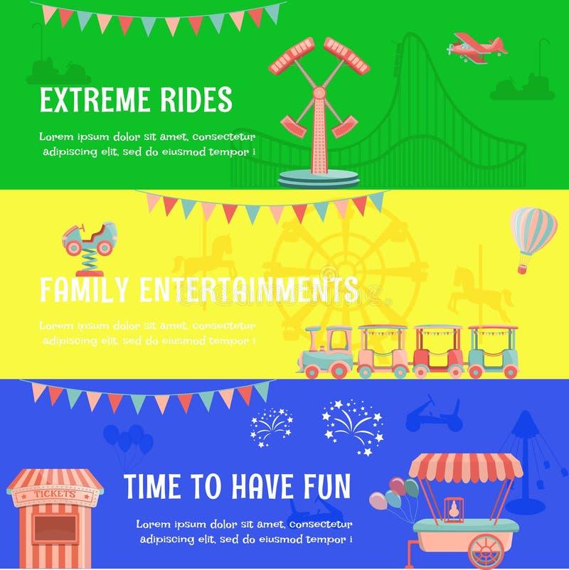 Bandera horizontal del funfair del parque de atracciones libre illustration