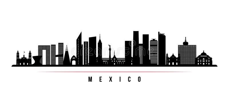 Bandera horizontal del horizonte de Ciudad de México ilustración del vector