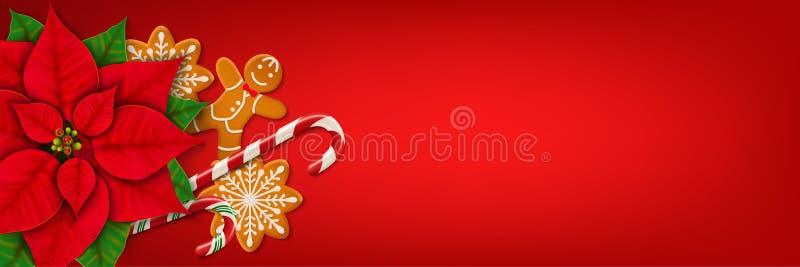 Bandera horizontal del web de la Navidad en fondo rojo stock de ilustración