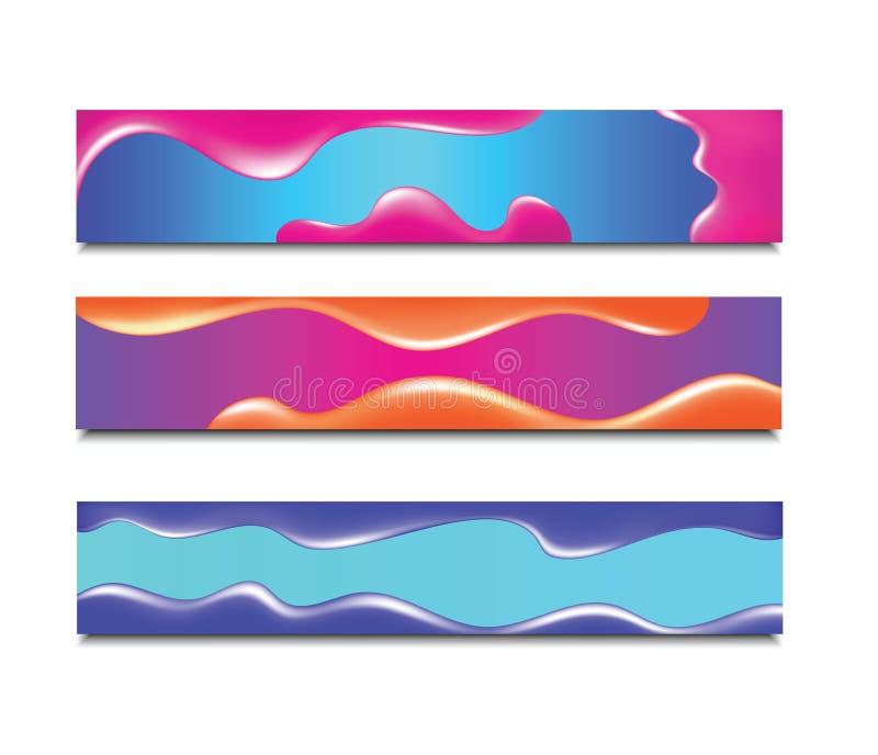 Bandera horizontal Fondo abstracto moderno Cubierta de neón flúida colorida para el cartel, el aviador y la presentación Pendient libre illustration