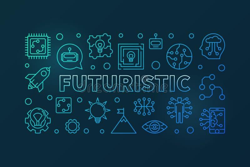 Bandera horizontal moderna azul del vector futurista en la línea estilo libre illustration