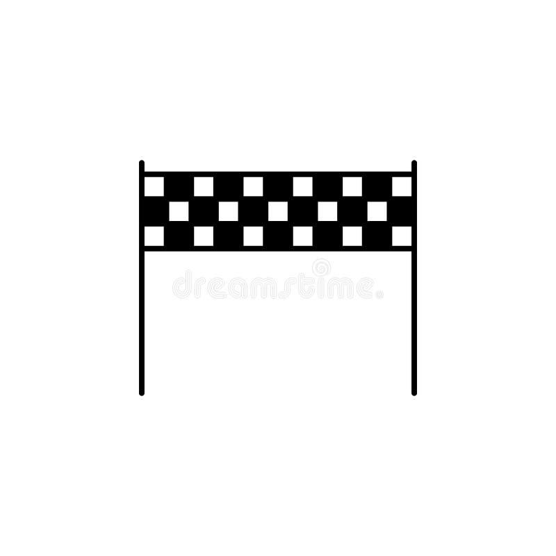 Bandera, icono del esquema del final Elemento del ejemplo del deporte de invierno Las muestras y el icono de los símbolos se pued stock de ilustración
