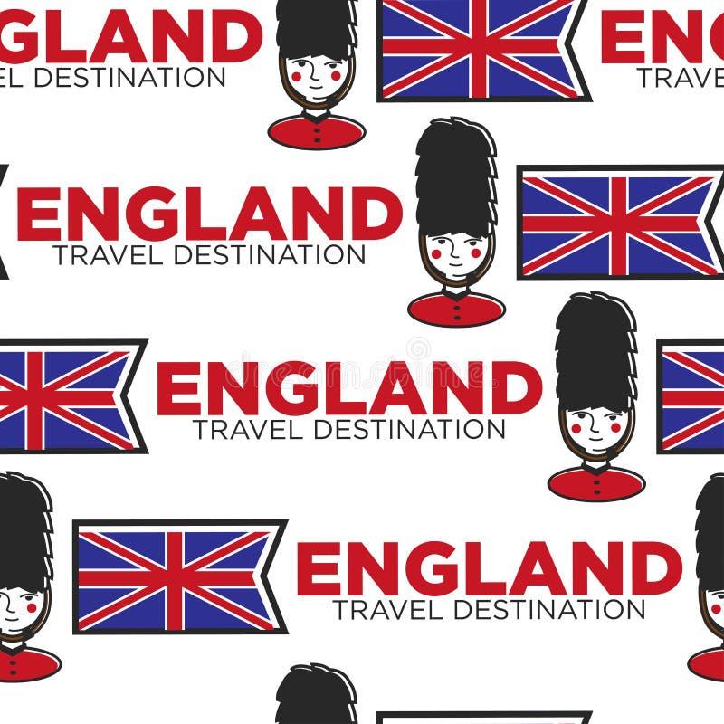 Bandera inconsútil del modelo del destino del viaje de Inglaterra y guardia real stock de ilustración