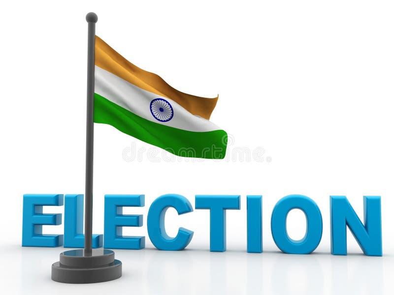 Bandera india con la elección aislada en el fondo blanco 3d rinden ilustración del vector
