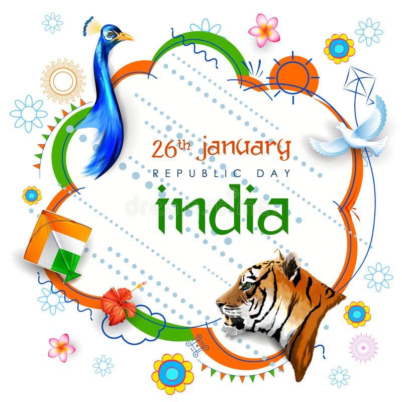 Bandera india tricolora para el día feliz de la república del 26 de enero de la India stock de ilustración