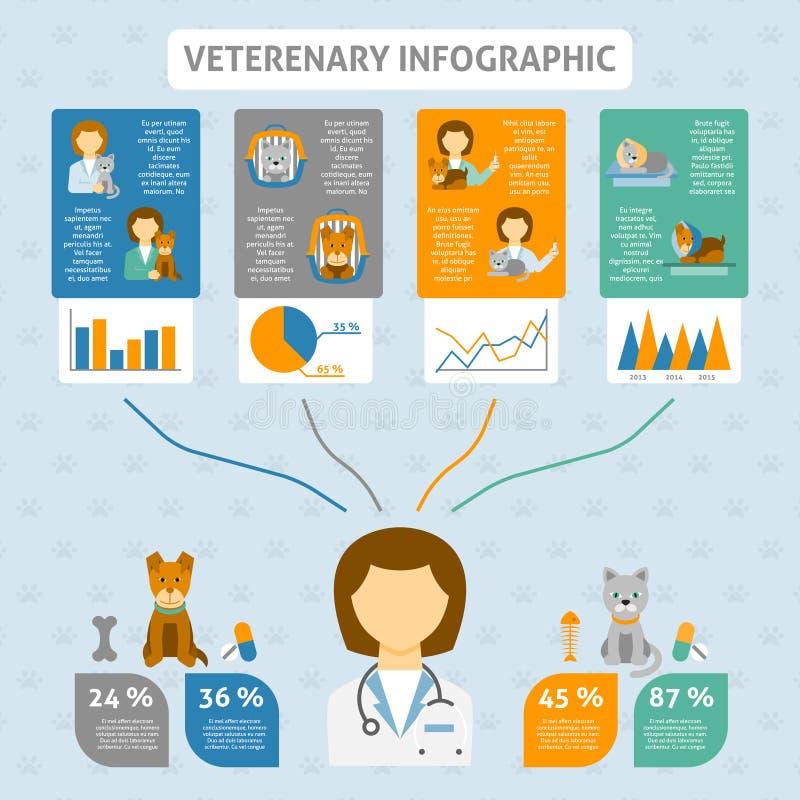 Bandera infographic de la carta de la clínica veterinaria ilustración del vector