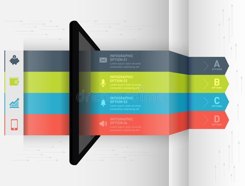 Bandera infographic moderna de las opciones del estilo de la papiroflexia del negocio stock de ilustración