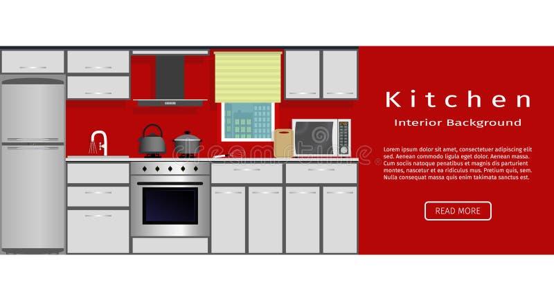 Bandera interior de la cocina moderna para su diseño web Organización del lugar de trabajo del ama de casa ilustración del vector