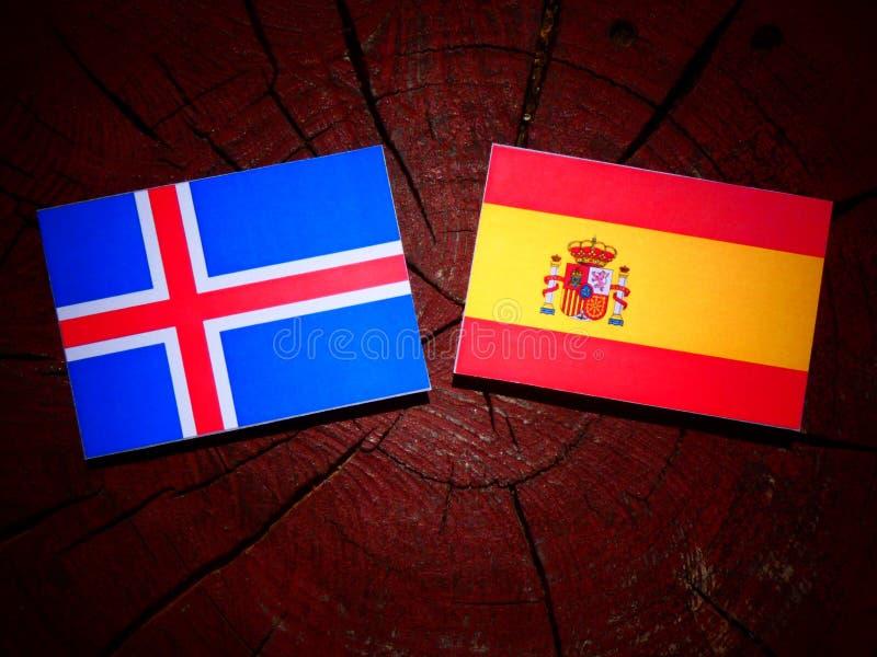 Bandera islandesa con la bandera española en un tocón de árbol imágenes de archivo libres de regalías