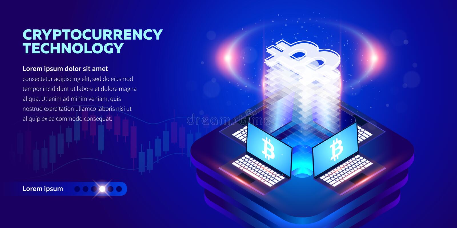 Bandera isométrica de Cryptocurrency stock de ilustración