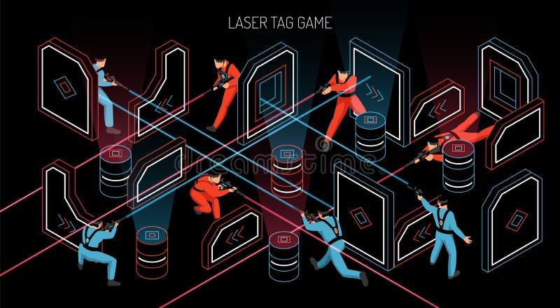 Bandera isométrica de la etiqueta del laser stock de ilustración
