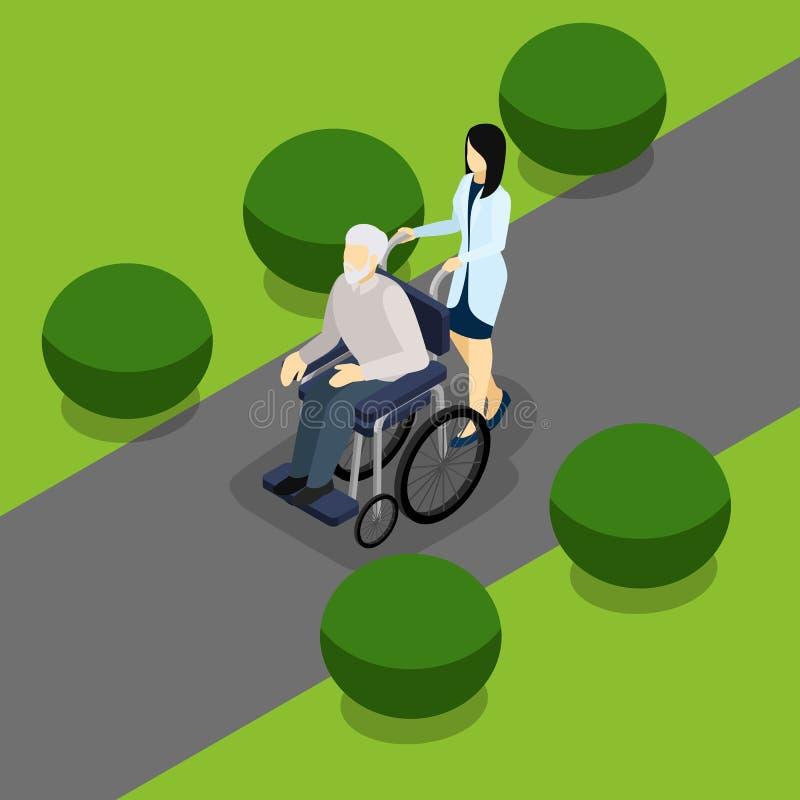 Bandera isométrica de la vida discapacitada de los jubilados libre illustration