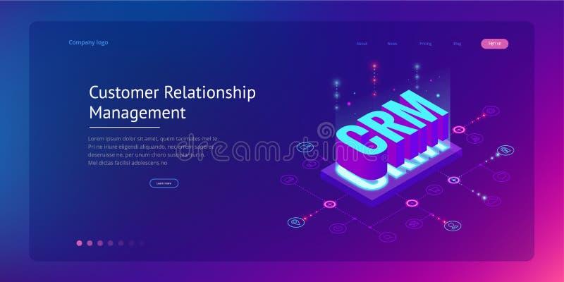 Bandera isométrica de la web de CRM Concepto de la gestión de la relación del cliente Ejemplo del vector de la tecnología de Inte stock de ilustración