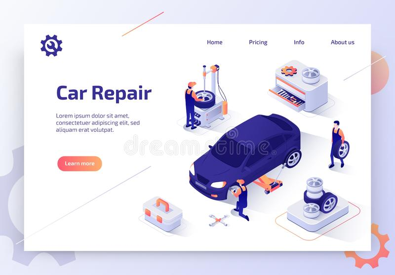 Bandera isométrica de la web del vector del taller de reparaciones del coche libre illustration
