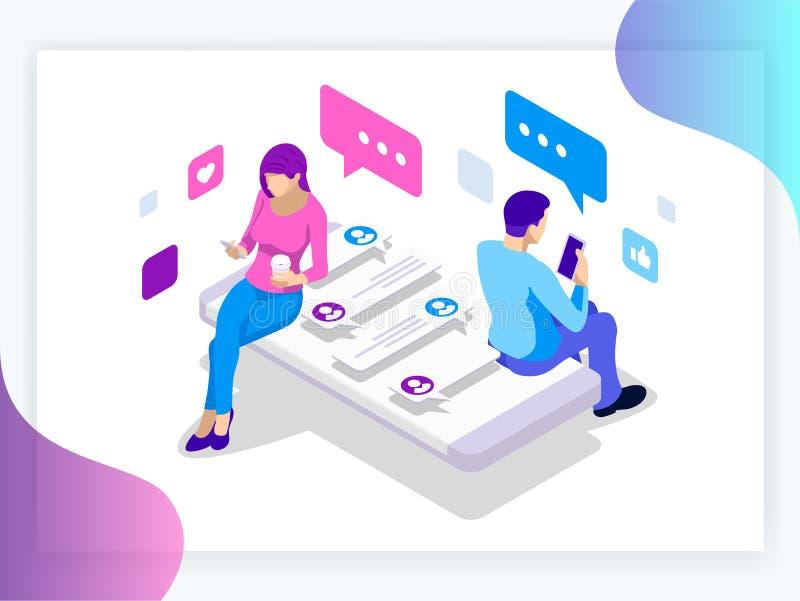 Bandera isométrica de relaciones virtuales y del concepto en línea del datación y social del establecimiento de una red Día feliz stock de ilustración