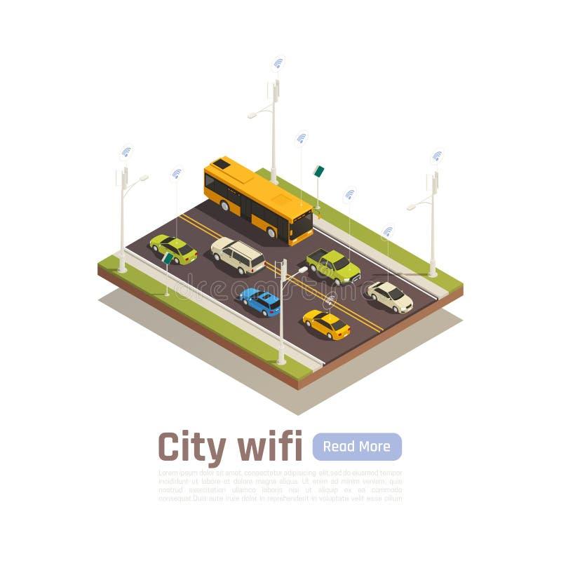 Bandera isométrica de Smart City ilustración del vector