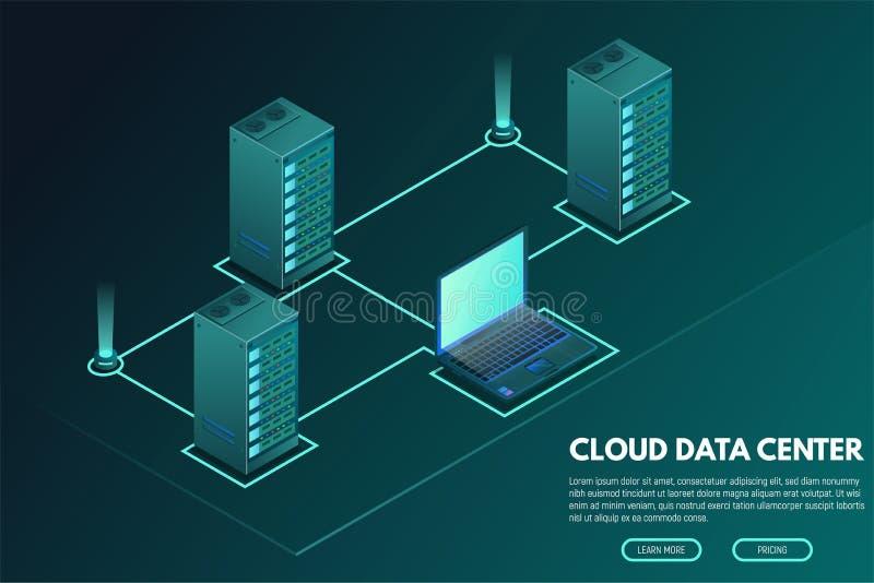 Bandera isométrica del centro de datos con el ordenador y los servidores libre illustration