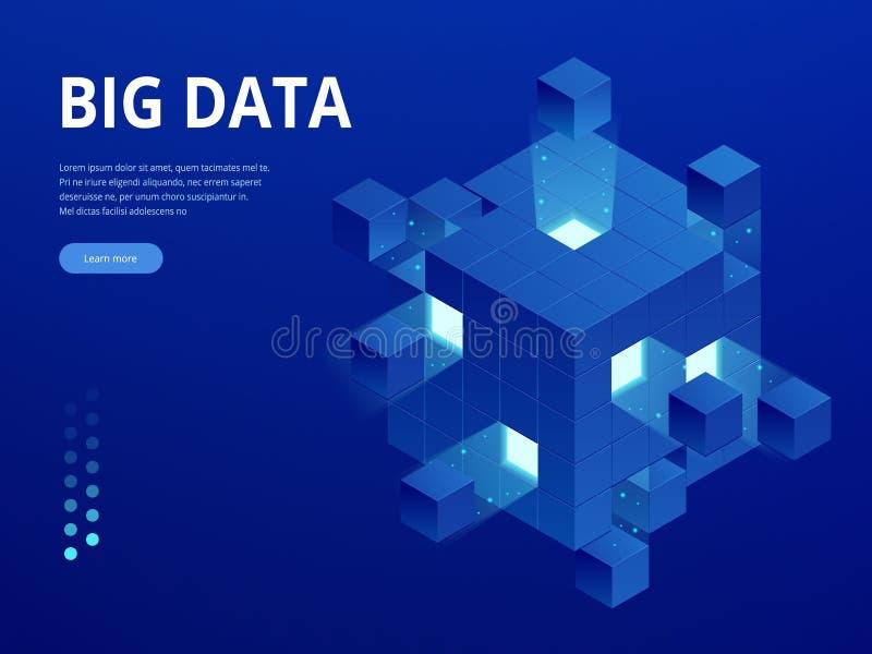 Bandera isométrica del web de la tecnología digital Algoritmos de aprendizaje GRANDES de máquina de los DATOS Análisis e informac ilustración del vector