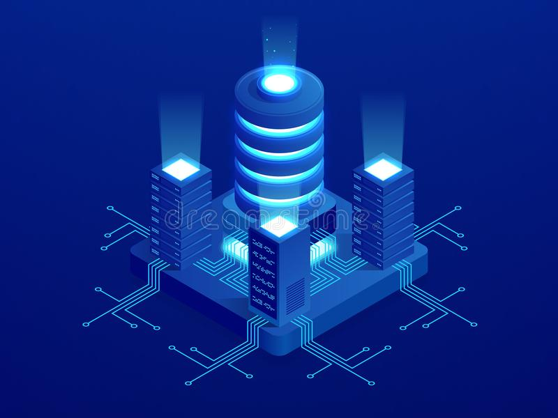 Bandera isométrica del web de la tecnología digital Algoritmos de aprendizaje GRANDES de máquina de los DATOS Análisis e informac libre illustration
