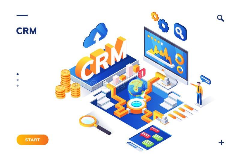 Bandera isométrica para el crm o el ERP Cliente, cliente stock de ilustración