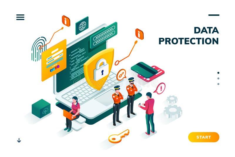 Bandera isométrica para la protección de datos de Internet stock de ilustración