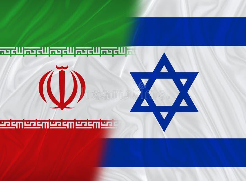 Bandera israelí e iraní stock de ilustración