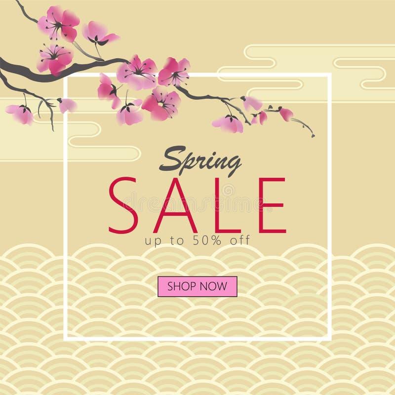 Bandera japonesa de oro de la flor estacional de Sakura de la primavera Web promocional del ornamento de la onda del flor orienta stock de ilustración