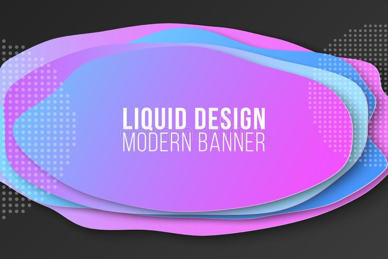 Bandera líquida del estilo Dise?o fl?ido Formas coloridas Elementos abstractos Modelo para su dise?o Ilustraci?n del vector ilustración del vector