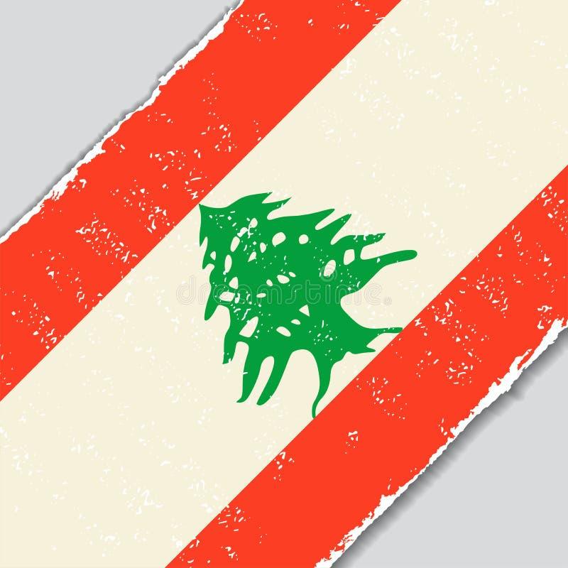Bandera libanesa del grunge Ilustración del vector ilustración del vector