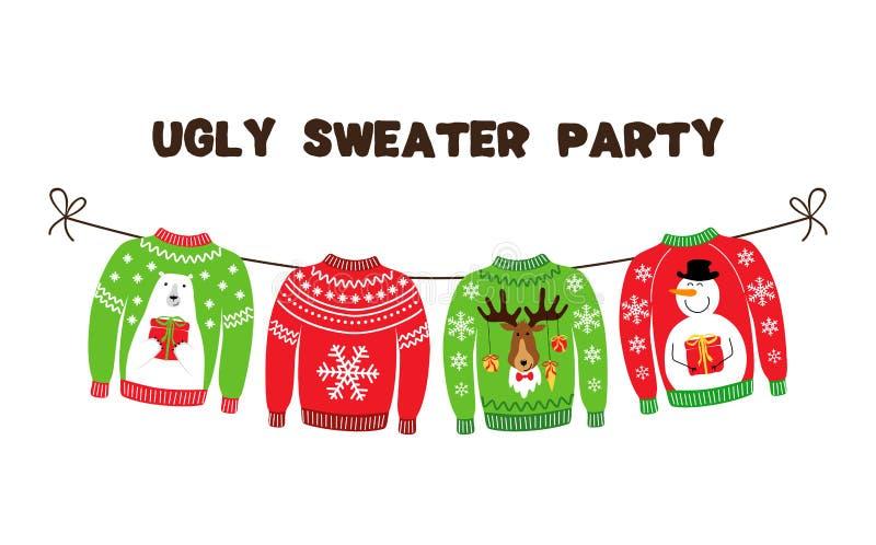 Bandera linda para la fiesta de Navidad fea del suéter stock de ilustración