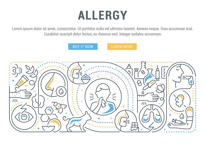 Bandera linear de la alergia stock de ilustración