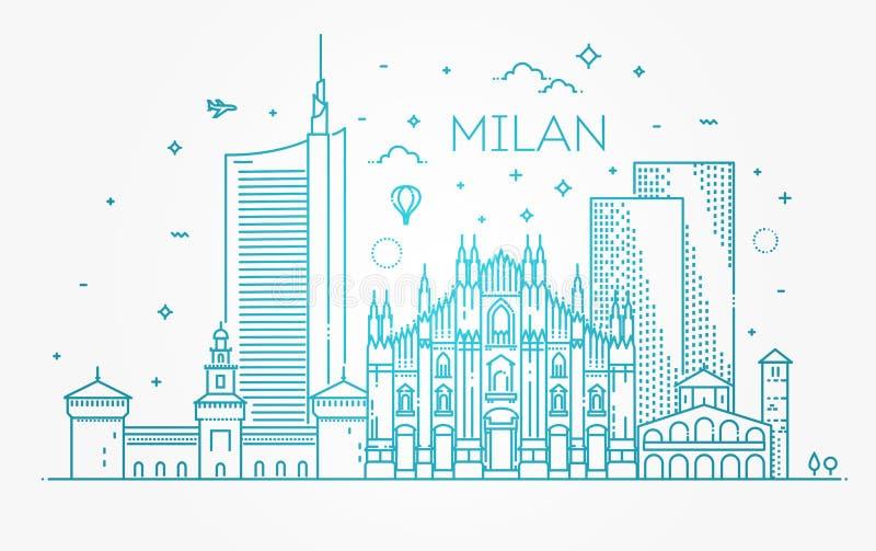 Bandera linear de la ciudad de Milán ilustración del vector
