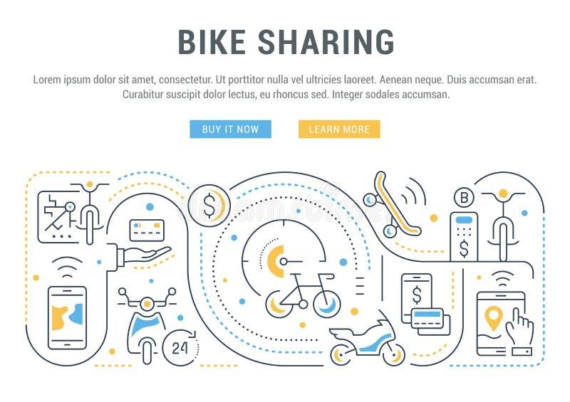 Bandera linear de la distribución de la bici stock de ilustración