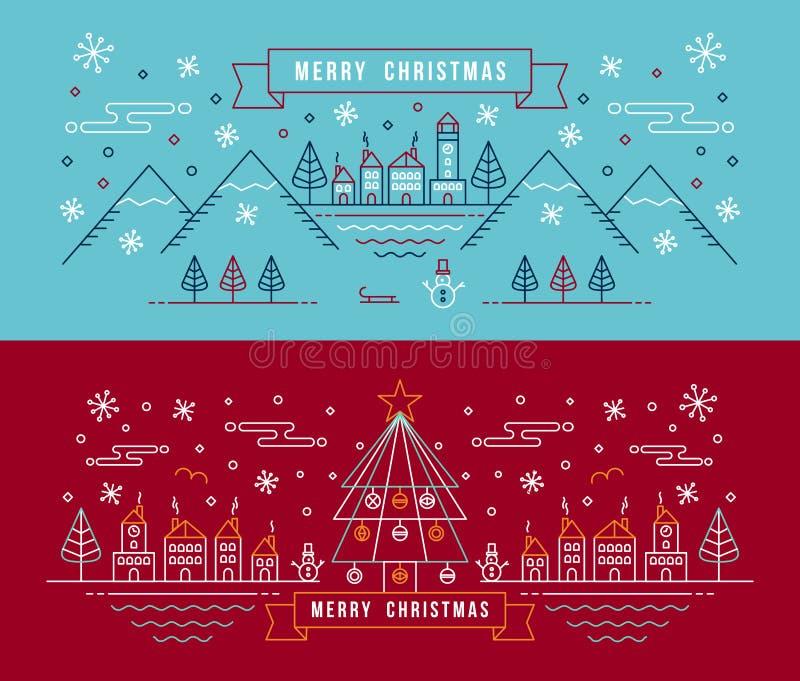Bandera linear del invierno de la ciudad del esquema de la Feliz Navidad stock de ilustración