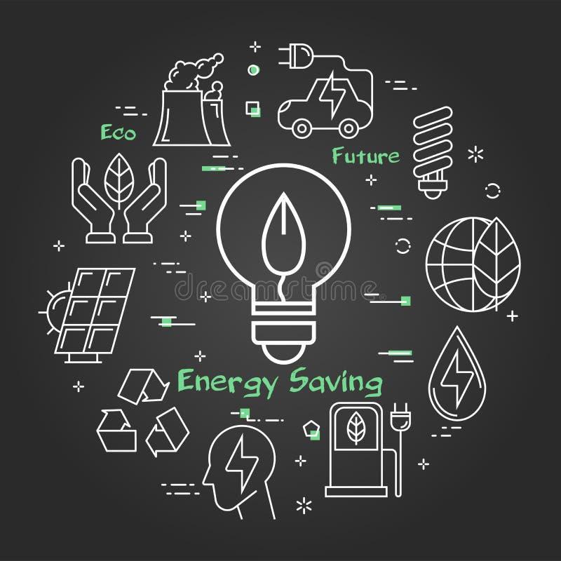 Bandera linear del negro del vector del bulbo ahorro de energía libre illustration