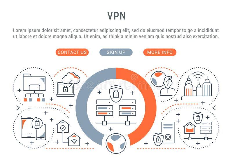 Bandera linear del VPN ilustración del vector