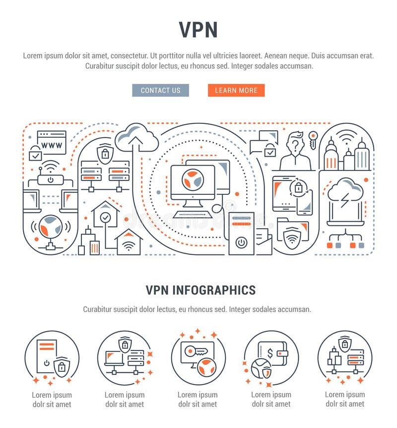 Bandera linear del VPN stock de ilustración