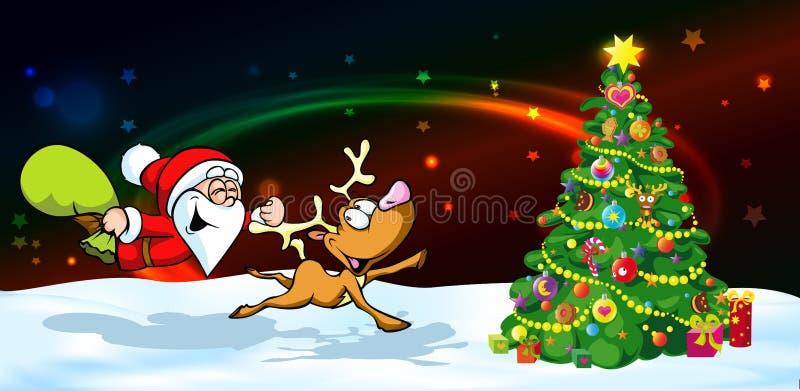 Bandera mágica de la Nochebuena - ejemplo divertido del vector de santa con el reno libre illustration