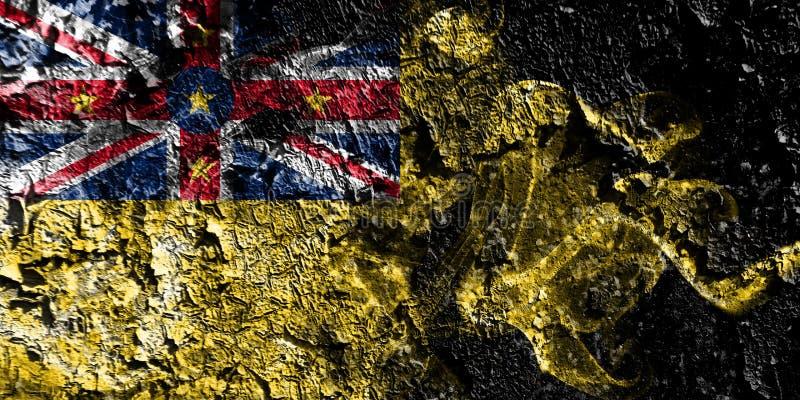 Bandera mística ahumada de Nueva Zelanda - de Niue en el viejo fondo sucio de la pared ilustración del vector